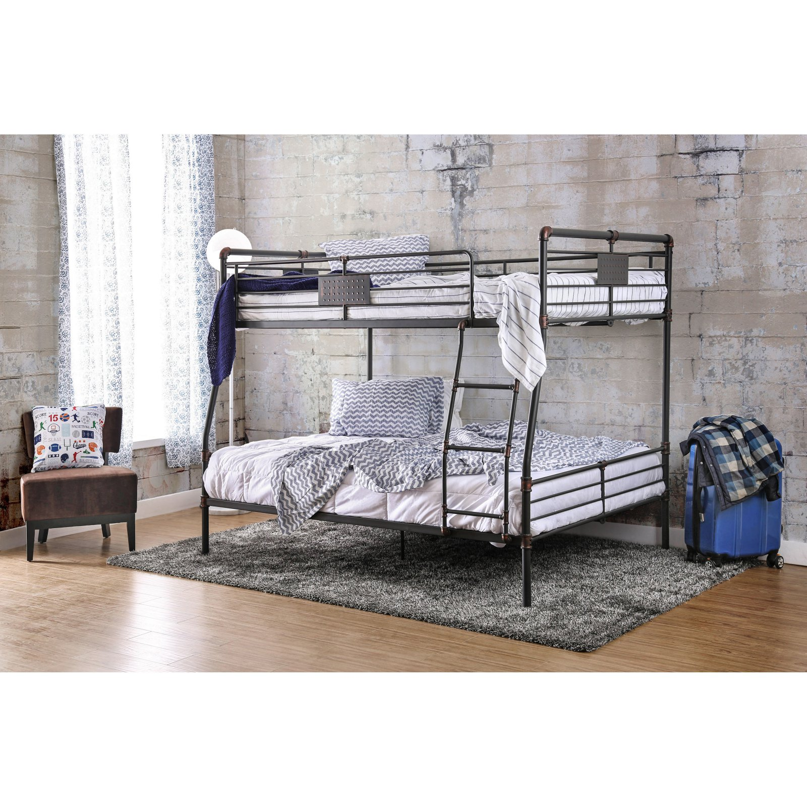 Furniture of America Rilie Full over Queen Bunk Bed