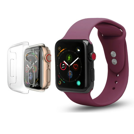 Apple Watch Soft Silicone Replacement Bands 42mm with Full Body Clear Hard Case Screen Protector Dual Locking Stud Wristband for iWatch Apple Watch Series 1/2/3/Nike+ - Burgundy (Future Star Series Wrist Watch)