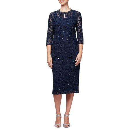 Alex Evenings Sleeveless - Petite Petite Two-Piece Sequin Sleeveless Dress & Jacket