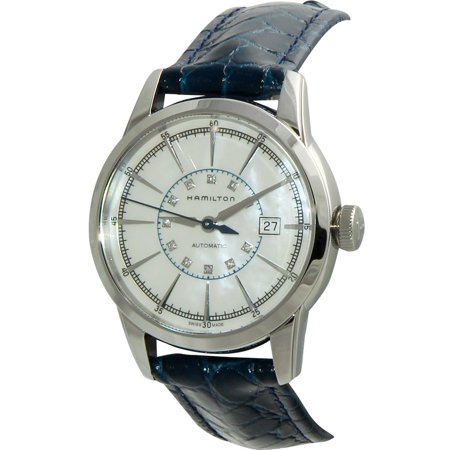 Ladies Mother Of Pearl Dial (Railroad Mother Of Pearl Dial Blue Leather Ladies Watch H40405691 )