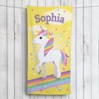 Sweet Unicorn Personalized Kids Beach Towel
