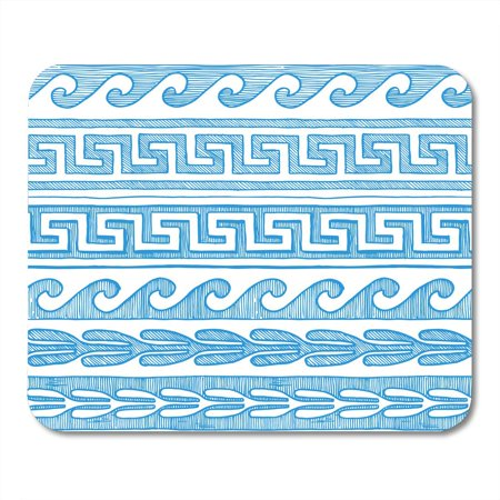 LADDKE Roman Border Meander Wave and Other Ancient Greece in Blue Ink Style on White Greek Abstract Mousepad Mouse Pad Mouse Mat 9x10