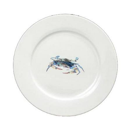 Blue Crab Blowing Bubbles Round Ceramic White Salad Plate 8655-DPW (Mock Crab Salad)