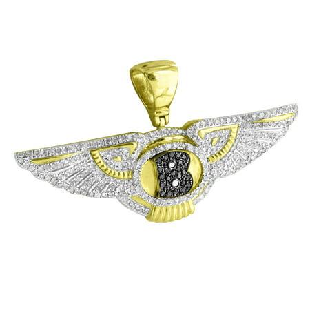 0.625' Team Logo Pendant (Luxury Car Logo Pendant 10k Yellow Gold Angel Wings 1.0