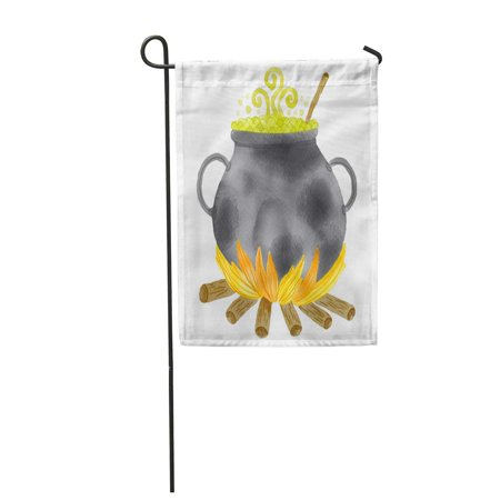 KDAGR Green Autumn Watercolor Witch Cauldron with Potion White Halloween Black Boiler Garden Flag Decorative Flag House Banner 12x18 inch - Witches Potion Halloween Drink