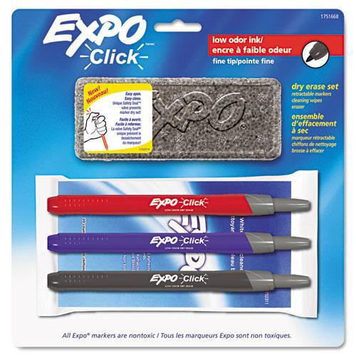 Click Dry Erase Marker Starter Set, Eraser/Wipes/Markers, Fine, Assorted, 3/Set