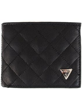 Guess Men's Black Leather Double Billfold Passcase Wallet