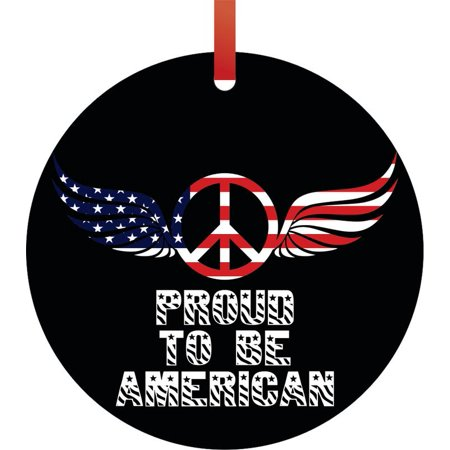 - Flag US Proud to be American Angel Wings Peace Symbol Round Shaped Flat Semigloss Aluminum Christmas Ornament Tree Decoration