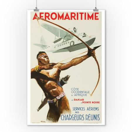 Aeromaritime Vintage Poster (artist: Brenet) France c. 1937 (9x12 Art Print, Wall Decor Travel Poster)