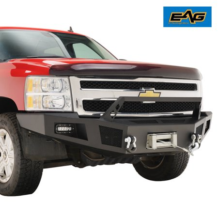 EAG EAG Front Winch Bumper with LED Lights Heavy Duty for 07-13 Chevy Silverado 1500 ()