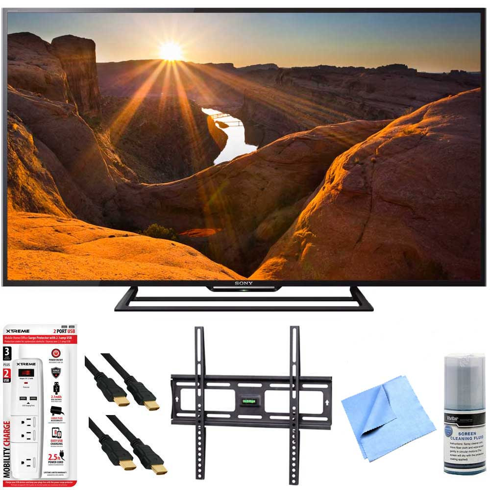 Sony KDL-48R510C - 48-Inch Full HD 1080p 60Hz Smart LED TV Mount & Hook-Up Bundle - Includes TV, Flat TV Wall Mount, Surge Protector with USB Ports, 2 x HDMI Cable, TV/LCD Screen Cleaning Kit, and Mo