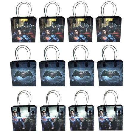 Batman V Superman 12 Authentic Licensed Party Favor Reusable Medium Goodie Gift Bags - Superman Party Favors
