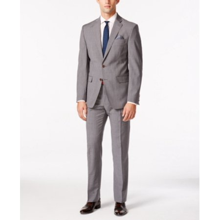 Tallia Men's Grey Striped 2 Pieces Suit Size 40L/33W Striped Poker Suit