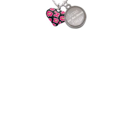 Silvertone Hot Pink Cheetah Print Heart Sisters Are Best Friends Forever Engraved Necklace (Pink Cheetah Print)