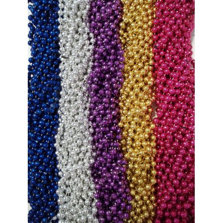 60 Spring Break Mardi Gras Beads Party Favors Metallic Necklaces 5 Dozen - Spring Break Wild Party