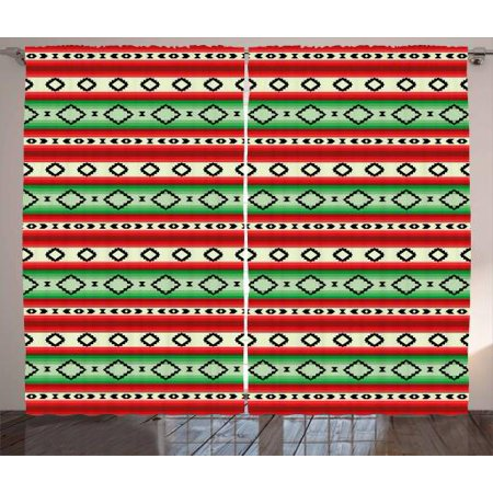 Fiesta Curtains 2 Panels Set, Mexican Blanket Geometric Pattern Stripes and Rhombuses Ethnic Arrangement, Window Drapes for Living Room Bedroom, 108W X 84L Inches, Green Vermilon Cream, by (Mexican Fiesta Stripes)