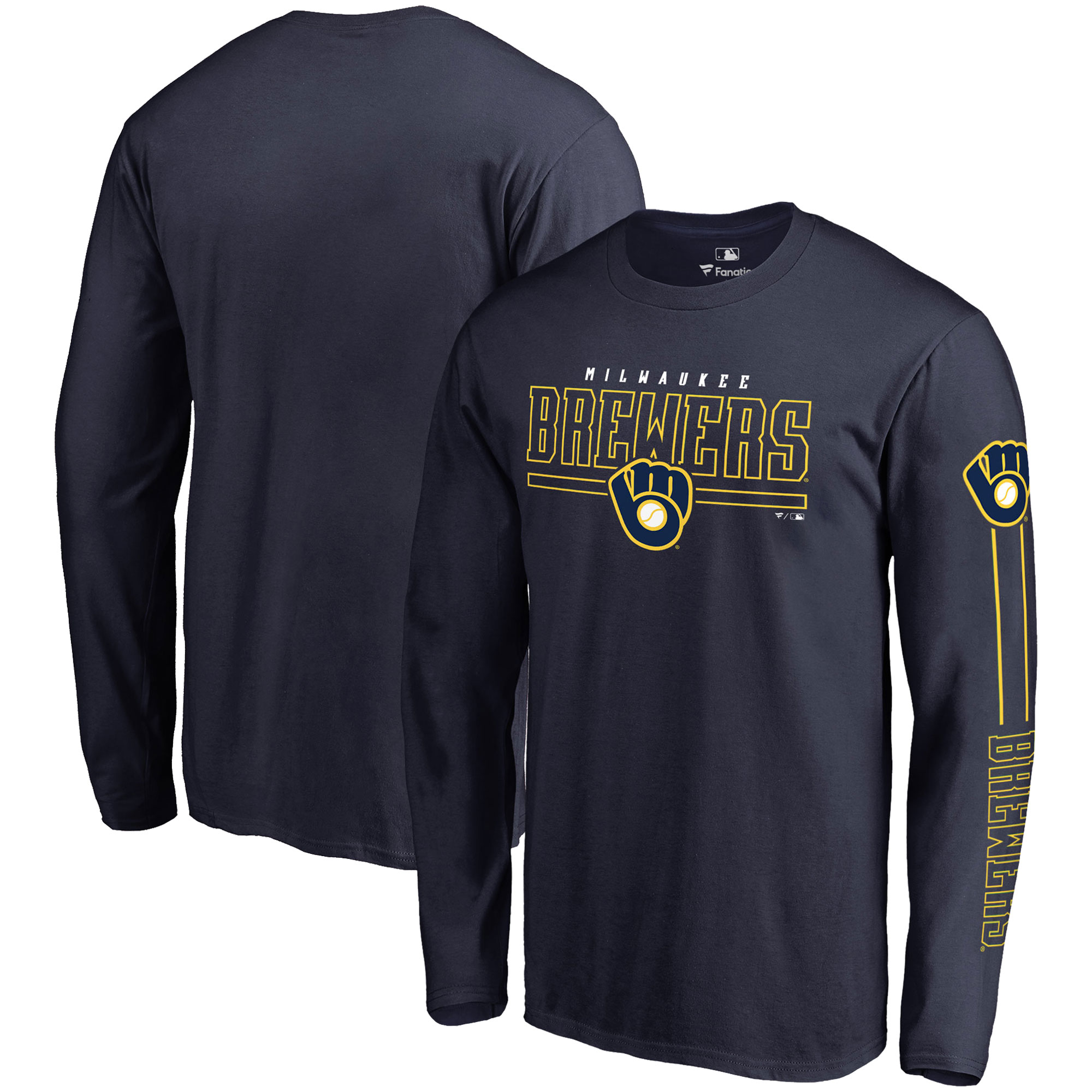 Milwaukee Brewers Fanatics Branded Front Line Long Sleeve T-Shirt - Navy