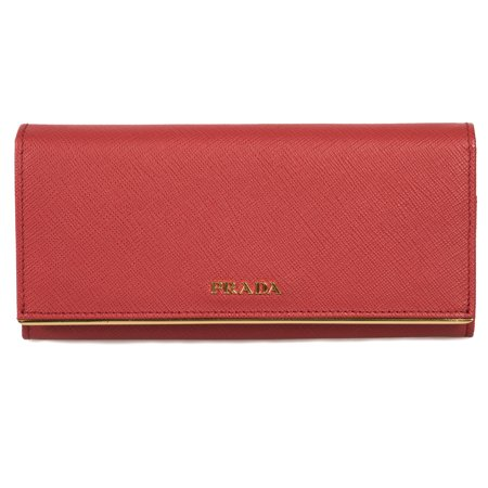 Prada Red Saffiano Leather Flap Wallet With Metal Bar Detail 1MH132 QME (Red Pradas)