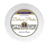 """1 - Party Essentials 10.25"""" Deluxe Dinner Plates - White 14 Ct."""