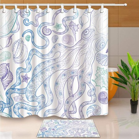 BPBOP Light Octopus Shell Sonch Starfish Shower Curtain 66x72 inches with Floor Doormat Bath Rugs 15.7x23.6 inches