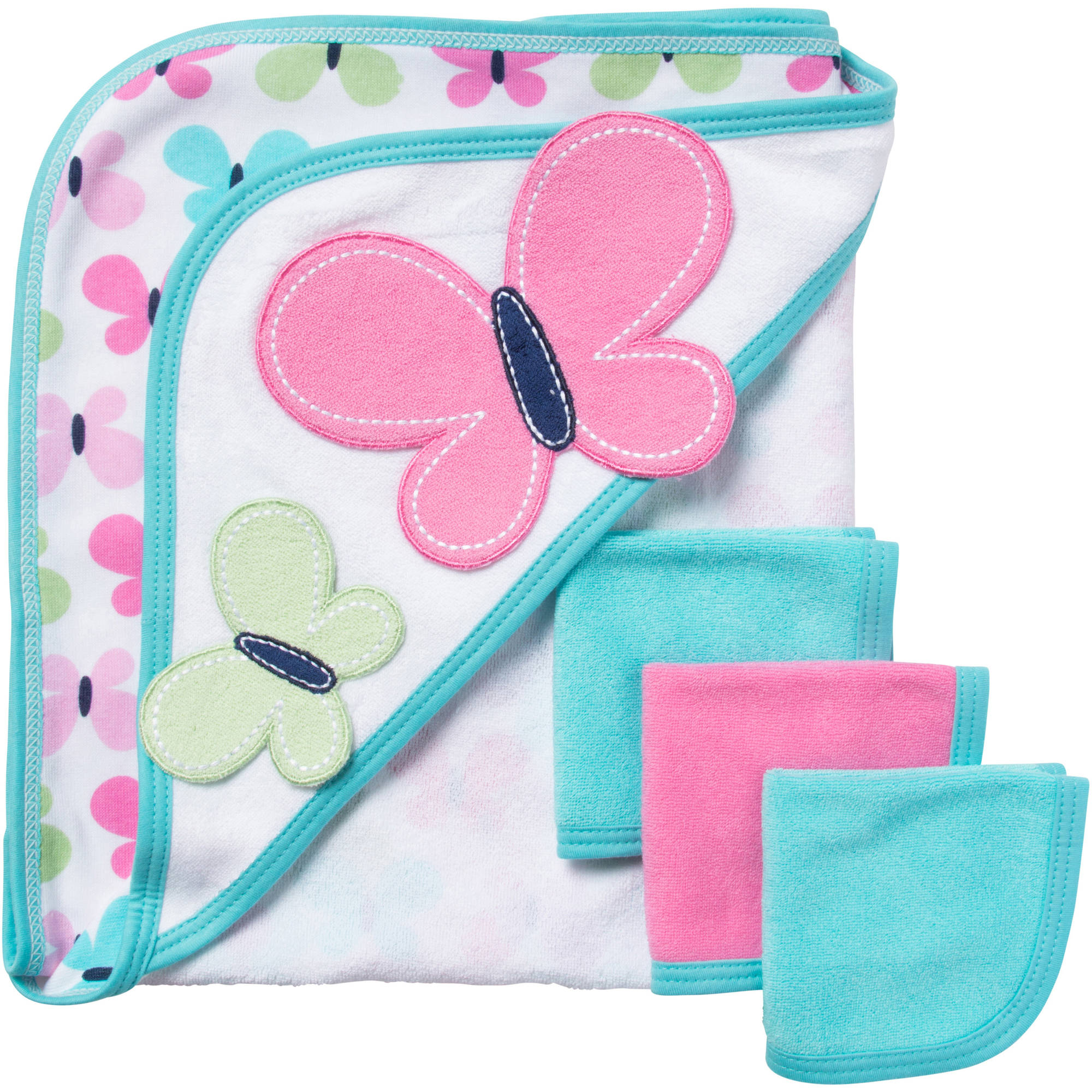Gerber Newborn Baby Girl Bath Set, 4-Piece