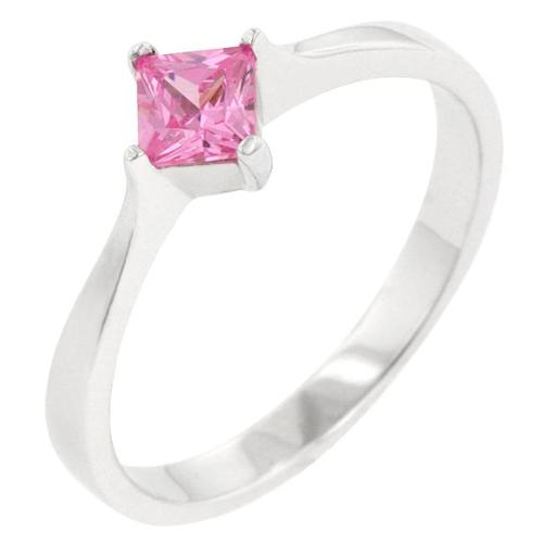 Kate Bissett R08121RS-S12-10 . 925 Sterling Silver Engagement Ring with a Princess Cut Pink Ice CZ in a Prong Setting in
