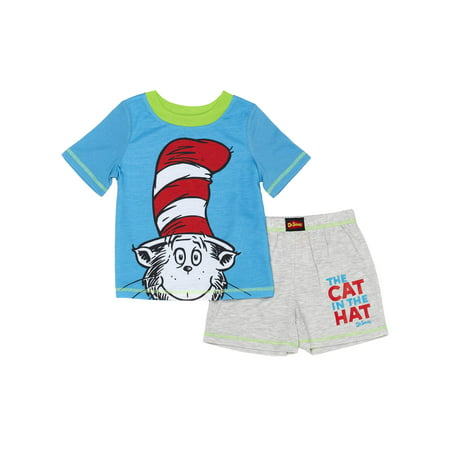 Dr. Seuss Cat in the hat t-shirt & shorts, 2pc pajama set (toddler boys) - Banana In Pajamas Halloween
