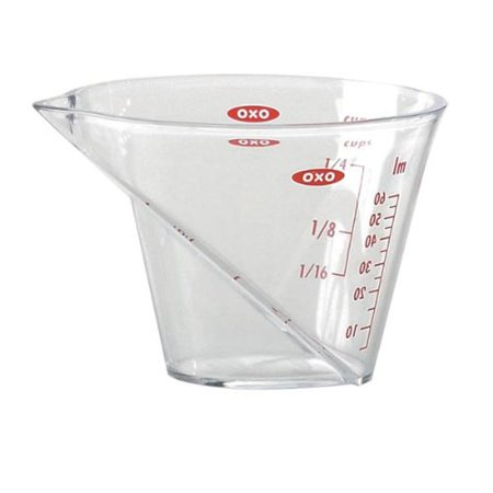 Good Grips Angled Measuring Cup 0.25-cup, Angled surface with bright red measuring marks By OXO