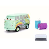 Diecast Car & Display Case Package - Disney Pixar CARSFillmore with Oil Cans, Light Green - Jada 98492 - 1/24 Scale Diecast Model Toy Car w/Display Case