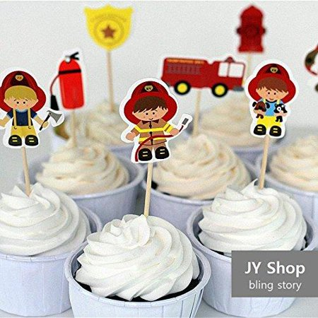 Firefighter Cake Topper (24pcs Fireman Cupcake Toppers Cake Picks Fire Fighters Kids Birthday Party Decoration Baby Shower Party)