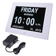 """Yescom 8"""" Large Digital LED Day Clock 6 Alarm Options Dimmable Calendar for Elderly Dementia Home Wall Table White"""
