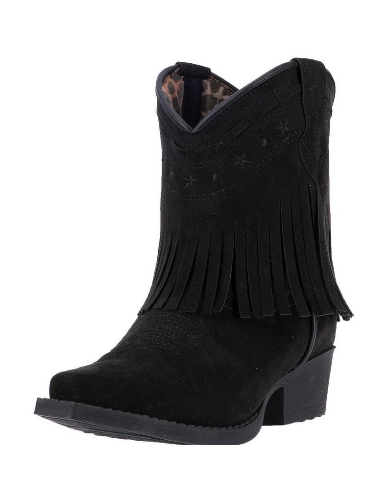 Laredo Western Boots Girls Zena Black Fringe Cowgirl Black LC2285 by Laredo