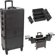 Sunrise I3364PPAB Black Smooth Trolley Makeup Case - I3364