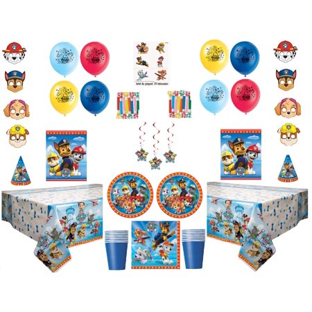 Paw Patrol Party Supplies for 16 Guests - Whistling Balloons