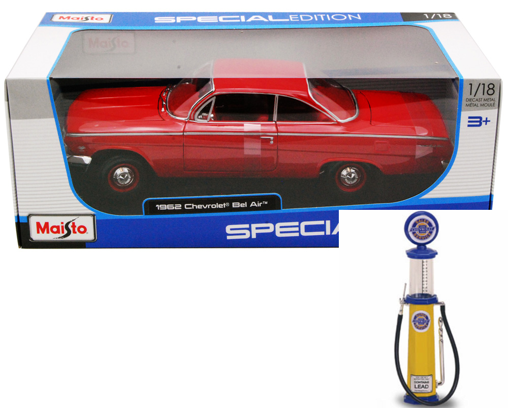 Chevy Diecast Car & Gas Pump Package 1962 Chevy Bel Air, Red Maisto 31641 1 18 Scale... by Maisto