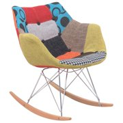 LeisureMod  Willow Petite Patchwork Rocking Eiffel Chair