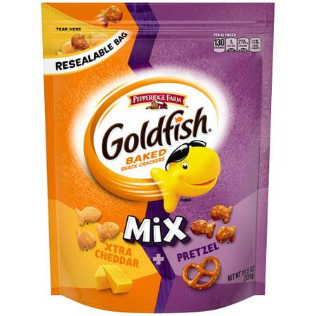 Pepperidge Farm Goldfish Mix Xtra Cheddar + Pretzel Crackers, 11.5 oz. Resealable Bag - Personalized Goldfish