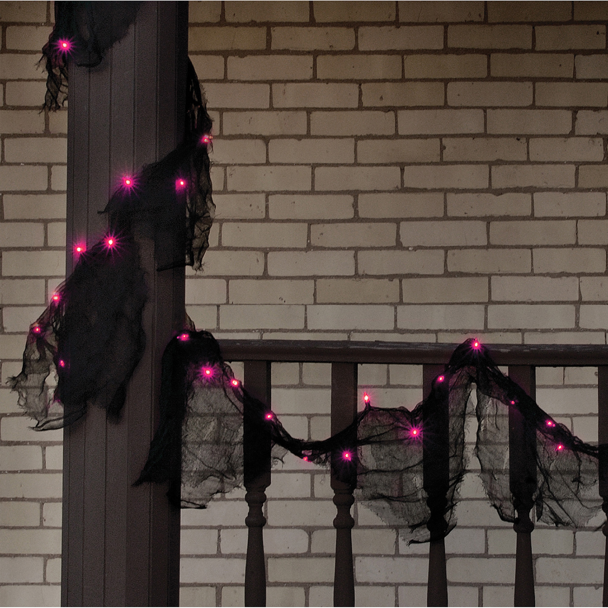 Black Lighted Garland with Purple Lights Halloween Decoration