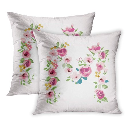 ECCOT Blue Simple Flower Capital M Pink Floral English Love Pattern Rose PillowCase Pillow Cover 16x16 inch Set of 2 (English Rose Pattern)
