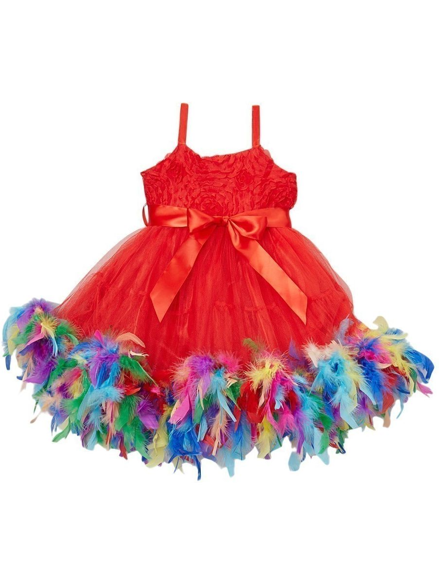 Girls Red Rainbow Color Feather Rosette Flower Girl Dress 12M-7