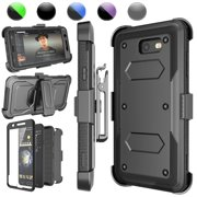 Galaxy J7 Perx Case,Galaxy J7 Sky Pro Case,J7 V/J7V Holster Clip, Njjex [Black] [Built-in Screen] with Kickstand + Holster Belt Clip Carrying Armor Case Cover For Samsung J7 2017 Released