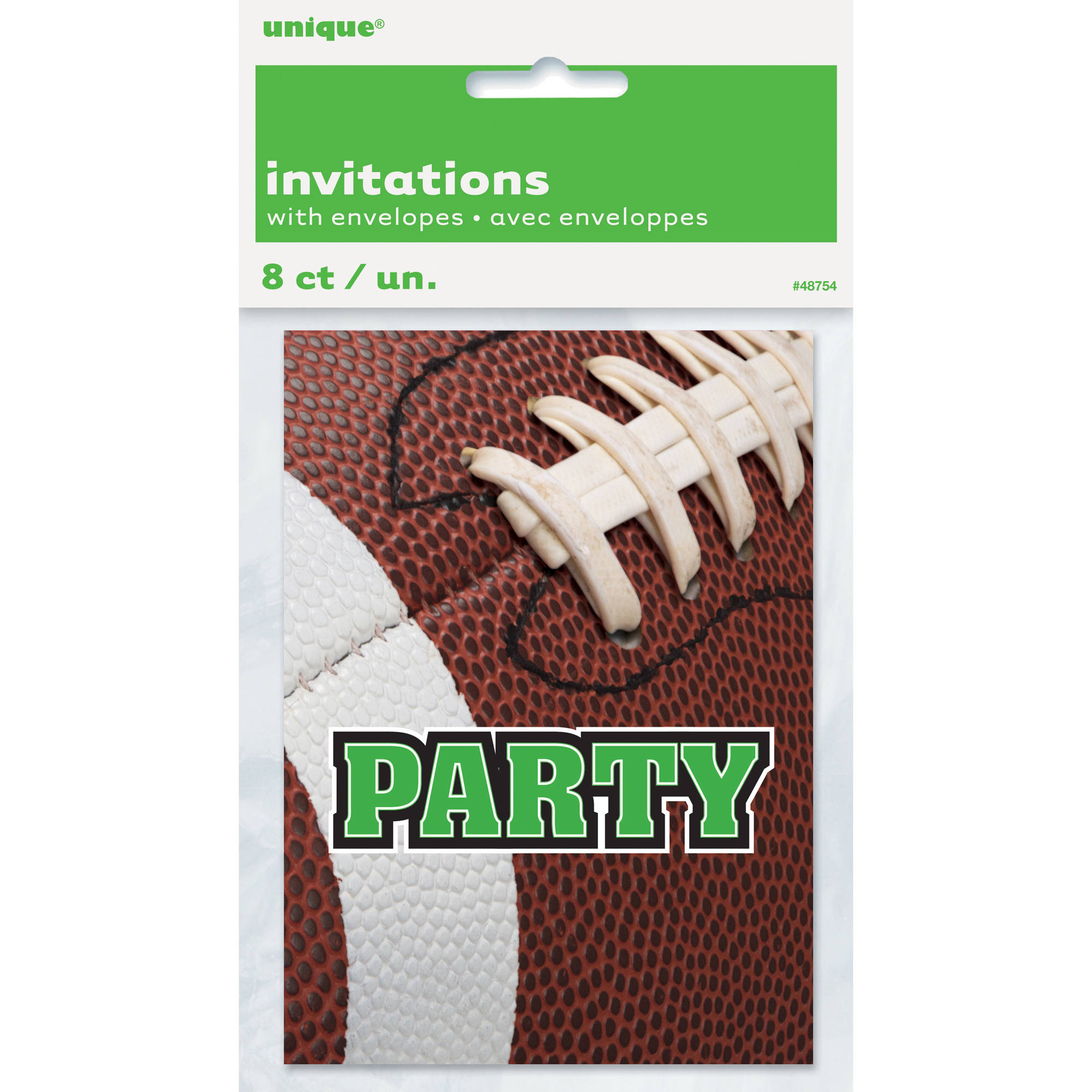 Football Party Invitations, 8-Count
