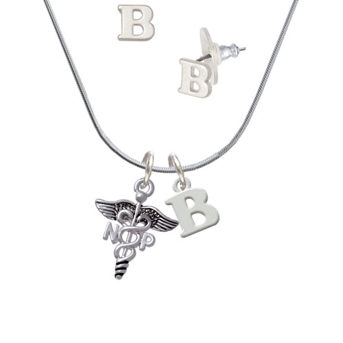 Caduceus - NP - B Initial Charm Necklace and Stud Earrings Jewelry Set