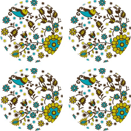 Brewster Home Fashions 12505259 Anya Dots Floral Circle Wall Accent Stickers ()