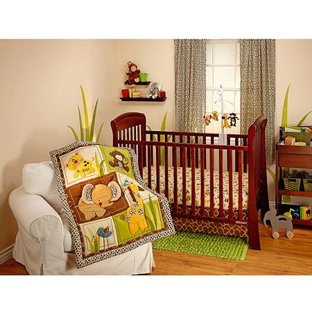 Crib Bedding Bundle Set - Little Bedding by NoJo - Jungle Dreams 3pc Crib Bedding Set - Collection Value Bundle