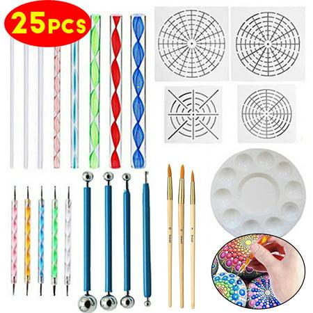 Moaere 25Pcs Mandala Dotting Tools Rock Painting Kits Dot nail Art Pen Paint Stencil (Face Paint Stencil Kit)