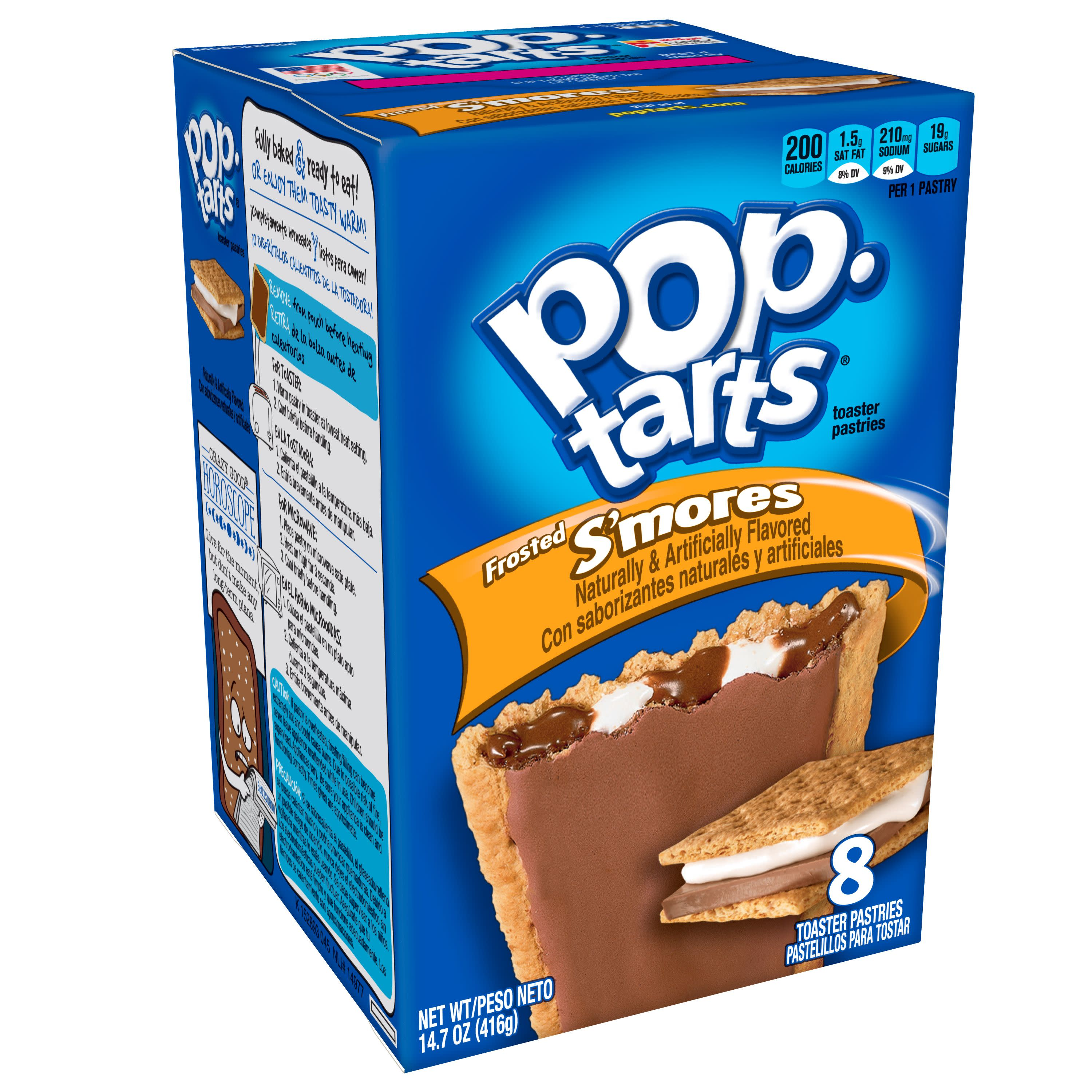 Kellogg's Pop-Tarts Breakfast Toaster Pastries, Frosted S'mores, 14.7 oz, 8 count (12 Packs)