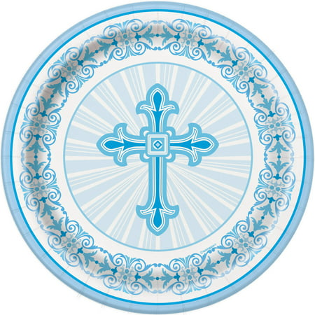 (3 Pack) Radiant Cross Religious Party Plates, 7 in, Blue, - Blue Snowflake Plates