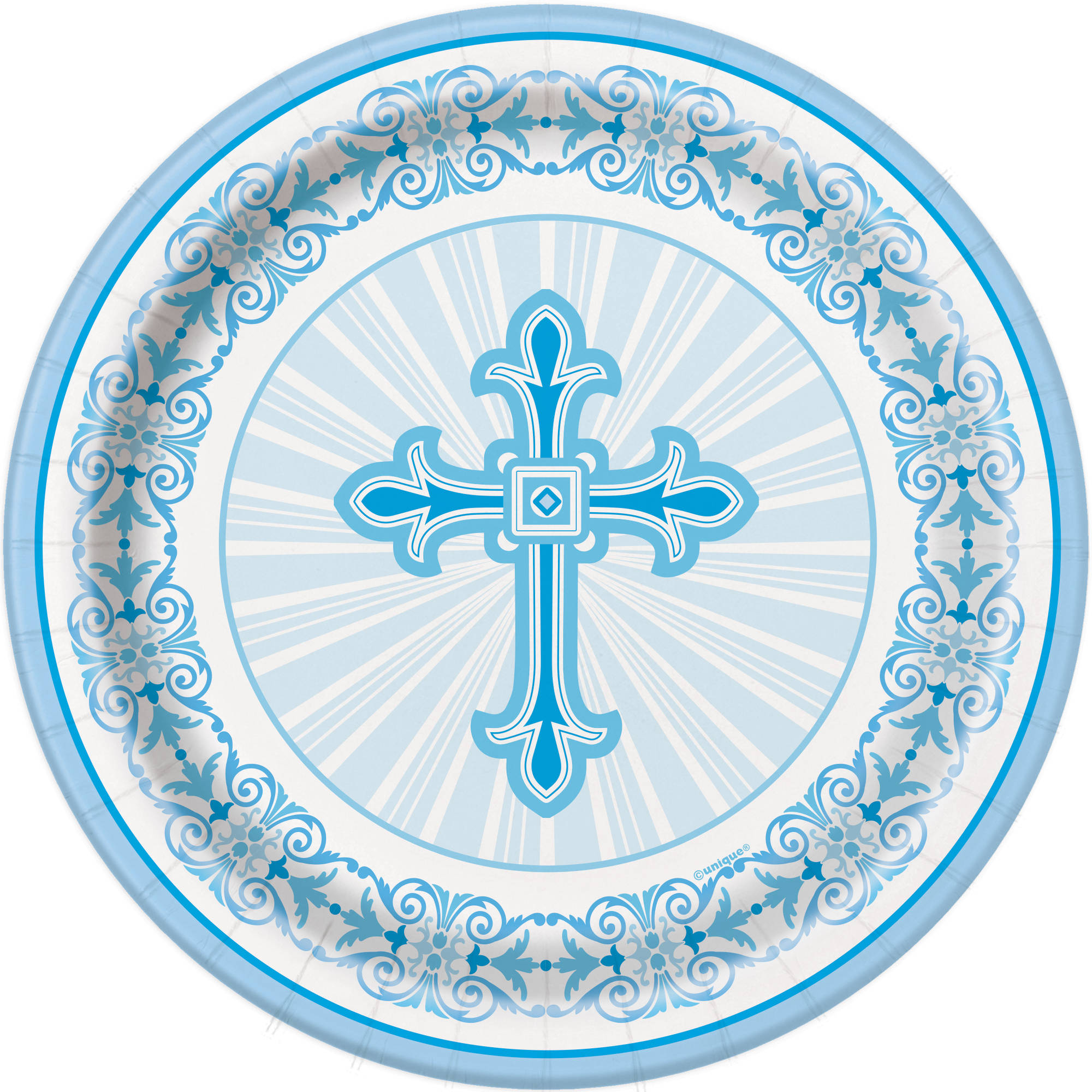 (3 Pack) Radiant Cross Religious Party Plates, 7 in, Blue, 8ct