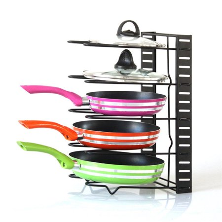 Dilwe Height Adjustable Pan Pot Organizer Rack, 5-Tier Stainless Steel,Heavy Duty Kitchenware Cookware Pot Rack Holder Kitchen Cabinet Countertop Storage
